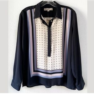 LOFT Tops - ANN TAYLOR LOFT PETITE NAVY STRIPED SHIRT SZ M MP